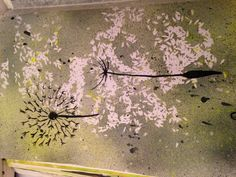 Page 20 Dandelions with ink and background with spray paint