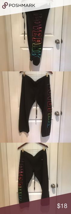 #newlisting {pink} Rainbow Black Sweatpants {pink} rainbow black sweatpants, size MEDIUM. Ankle length. Slim fit. Elastic waist with drawstring. Rainbow appliqué LOVE PINK down left leg. Small back pocket on right bum. Small embroidered silver dog. 60% cotton, 40% polyester. Machine wash. Tumble dry.          ••• 20% bundle discount •••          ••• make me an offer •••          ••• instagram: @curleeque #poshmarkpals ••• PINK Victoria's Secret Pants Track Pants & Joggers