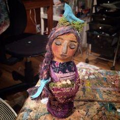 Original paper clay art doll by Jennifer Albin. www.soulwhisperarts.com