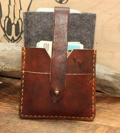 Leather & Wool iPhone Wallet by From Marfa With Love on Scoutmob Shoppe