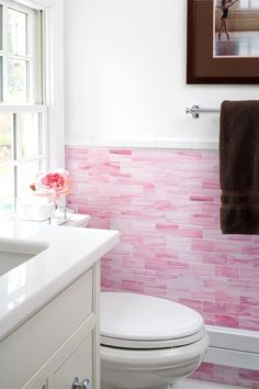 sweet girls bathroom with Waterworks pink glass subway tile // Elissa Grayer Design Subway Tile Colors, Glass Subway Tile Backsplash, Subway Tiles, Glass Tiles, Kitchen Backsplash, Pink Bathroom Tiles, Pink Tiles, Bathroom Flowers, Bathroom Colors