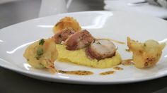 Loin of rabbit with potato mousseline and cauliflower fritters - RTE Food