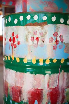 Decoration on our wedding location Strand(t)huys Buitengewoon Noordwijk in Holland. Painted oil drums