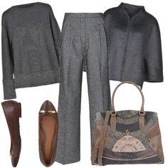 Pullover, pantalone a palazzo, giacca con chiusura a zip, ballerine, borsa a mano. Bts Inspired Outfits, Wedding Night, Office Wear, Winter Fashion, Fall Winter, Fashion Looks, Organization, Costumes, Elegant