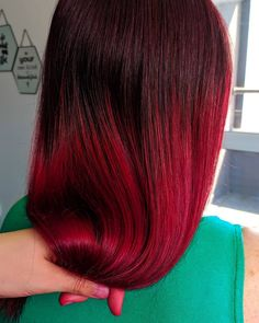 Beautiful deep scarlet red by - try our Mars Pack to customize your perfect red Side Part Hairstyles, Face Shape Hairstyles, Chic Hairstyles, Trending Hairstyles, Red Burgundy Hair Color, Dark Red Hair, Long Face Haircuts, Oblong Face Shape, Gorgeous Hair