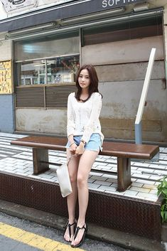 Buy Fray Summer Knit Top at Korean Fashion Store. Discover the latest fashion trends in South Korea at our online store. We are dedicated to bringing customers the latest authentic fashion trends so come take a look! Cute Korean Fashion, Korean Fashion Trends, Fashion 101, Asian Fashion, Fashion Models, Fashion Looks, Fashion Outfits, Simple Outfits, Cute Outfits