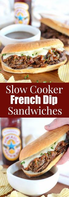 Slow Cooker French Dip Sandwiches - Patrick likes! An easy recipe for French Dip Sandwiches made in the slow cooker. Tender beef, caramelized onions and melted cheese with au jus on the side for dipping. Slow Cooker Recipes, Crockpot Recipes, Cooking Recipes, Cooking Tips, Healthy Recipes, Sirloin Recipes, Chicken Recipes, Kabob Recipes, Fondue Recipes