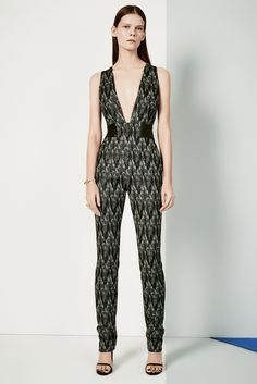 KLS Kimora Lee Simmons | Pre-Fall 2015 | 02 Monochrome printed sleeveless jumpsuit with deep V-neck