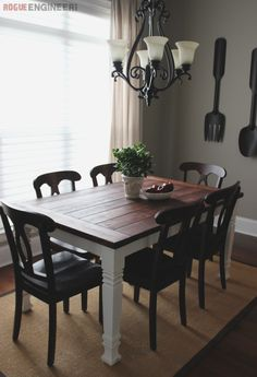 Build a stylish kitchen table with these free farmhouse table plans. They come in a variety of styles and sizes so you can build the perfect one for you. Farmhouse dining room table and Farm table plans. Farmhouse Table Plans, Farmhouse Dining Room Table, Diy Dining Table, Dining Table Design, Table And Chairs, Table Legs, Wood Tables, Dining Room Ideas On A Budget, Dining Rooms