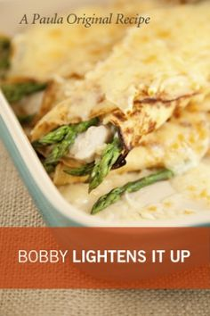 "Bobby Deen's Lighter Chicken and Asparagus Crepes - A ""Paula Original Recipe."""