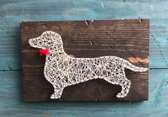 Dachshund String Art, Felt Bowtie, Rustic Home Decor, Wall Art, Rustic String Art, Wood Wall Sign, Doxie Art, FAST SHIPPING