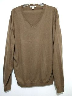 eaa4cee3a13d3 Pronto Uomo Mens Sweater Cocoa Brown 5XLT Cotton Cashmere V-Neck L/S  Lightweight
