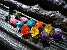 ON SALE raw multi gemstone earrings apatite earrings by BeijoFlor