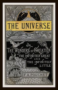"""Vintage Book Cover """"The Universe"""" by F.A. Pouchet- published in 1887- Giclee Art Print on Canvas"""