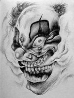 Ball-point pen on paper Reference by a tattoo from Zodak Clowning. Evil Clown Tattoos, Scary Tattoos, Skull Tattoos, Body Art Tattoos, Badass Drawings, Dark Art Drawings, Evil Clowns, Scary Clowns, Tattoo Sketches
