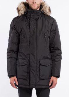 NOIZE- men- DAX -black Hudson Bay, Fur Trim, Winter Coat, Faux Fur, Raincoat, Winter Jackets, Winter Wonderland, Stuff To Buy, Vegan