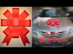 Diy big paper bow for cars! This with long strips of ribbon coming out the left & right!
