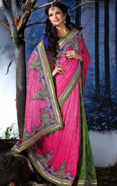 Stunning Parrot Green and Pink Indian Wedding Saree