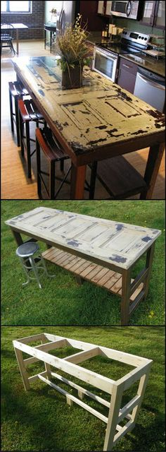 How To Build A Kitchen Island From An Old Door theownerbuilderne… If your kitchen could use an island or breakfast bar, then this economical project using a recycled door is great. by geneva Old Furniture, Repurposed Furniture, Furniture Projects, Home Projects, Painted Furniture, Repurposed Doors, Reclaimed Doors, Diy Door Projects, Pallet Furniture