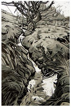 Nant y Mynydd by Ann Lewis from her Welsh landscapes  - 5 cut linocut #LandscapeArtists
