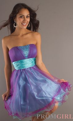Short strapless party dress-turquoise