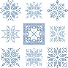 Illustration of Set of 9 cross-stitch snowflakes pattern, Scandinavian style. Geometric redwork ornament for embroidery. Perfect for Christmas design. Vector illustration vector art, clipart and stock vectors. Xmas Cross Stitch, Cross Stitch Christmas Ornaments, Cross Stitch Cards, Cross Stitch Kits, Counted Cross Stitch Patterns, Cross Stitch Designs, Cross Stitching, Cross Stitch Embroidery, Embroidery Patterns