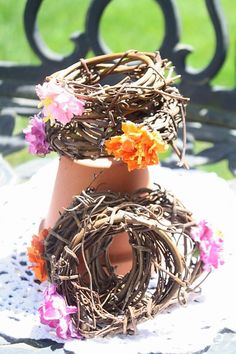 Rustic Spring mini wreaths with flowers by thefrolickingfrog, $8.00
