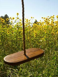 Dreamy Handcrafted Rope Tree Swing add to tree house. Rope Swing, Hammock Swing, Tire Swings, Saddle Swing, Porch Swings, Garden Art, Home And Garden, Garden Ideas, Outdoor Fun