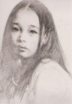 """艾軒 (Ai Xuan), """"Portrait of a Tibetan Girl"""". I know it's just her hair making her ear look pointy, but she looks like a little elf. Life Drawing, Drawing Sketches, Painting & Drawing, Art Drawings, Drawing Ideas, Sketching, Pencil Portrait, Portrait Art, Academic Drawing"""