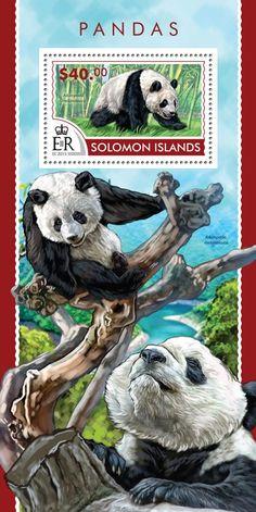 Post stamp Solomon Islands SLM 15212 bPandas (Ailuropoda melanoleuca)