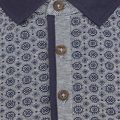 Navy tile print yoke polo shirt - t-shirts / vests - sale - men
