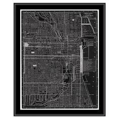 Gallery wrapped framed giclee print of a map of Chicago. Ready to hang.   Product: Giclee framed print Construction Mat...