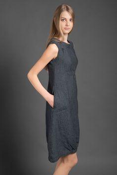 Pure linen dress dark gray dress for summer woman door HomeOfNature