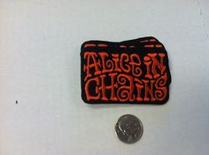 Alice In Chains Logo Crazy Orange Fuzzy IRON/SEW ON EMBROIDERED PATCH NEW 3x2