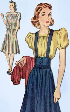 1930s Vintage Simplicity Sewing Pattern 2970 Misses Skirt & Blouse Size 14 32 B #Simplicity #SuitPattern