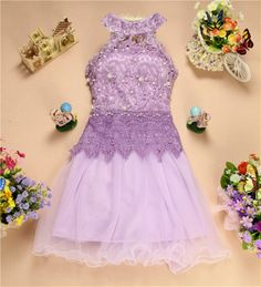 Hot selling Homecoming Dresses formal  2014 spring halter neck beaded  knee length lace dress free shipping WD1553 US $31.78