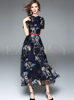 Shop for high quality Elegant Stand Collar High Waist Maxi Dress online at cheap prices and discover fashion at Ezpopsy.com