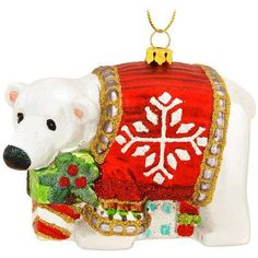 Polar Bear With Red Sweater Glass Ornament