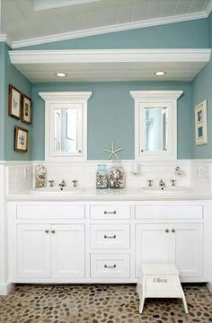 SallyL: Beautiful Bathroom With Built In Double Vanity And Incredible  Pebble Floor. The White .
