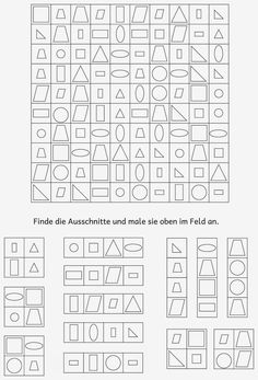 Lernstübchen: visuelle Wahrnehmung Worksheets For Kids, Math Worksheets, Therapy Activities, Preschool Activities, Kids Education, Special Education, Visual Perception Activities, Vision Therapy, Pediatric Ot