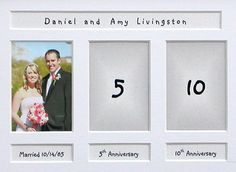 This series of Wedding Anniversary Photo Frames offers a unique  way to commemorate six major anniversaries. The 25th Anniversary  frame is shown here but 5th, 10th, 15th, 20th, and 50th are available.