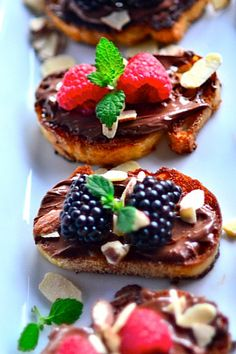 Nutella Berry Bruschetta - A creamy combination of sweet berries and Nutella on a buttery crunchy slice of bread. It's so fantastic...