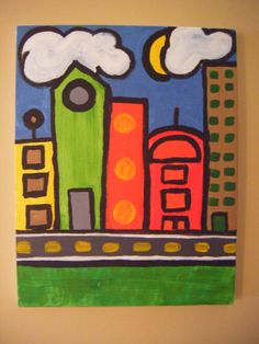 Big City Beep Beep Collection - Skyline. Vibrant mod/pop art for children's room or nursery. Perfect for transportation theme!