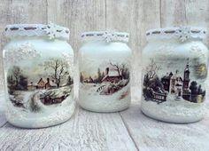 : Wine Bottle Crafts, Mason Jar Crafts, Bottle Art, Mason Jars, Christmas Decoupage, Christmas Jars, Decoupage Jars, Decoupage Ideas, Shabby