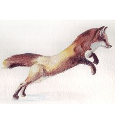 Jumping Red Fox Illustration by HomemadeHeartland on Etsy