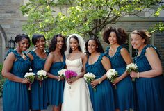 Gorgeous Abesha Bride with her lovely bridesmaids in blue. #wedding #ethiopian #habesha