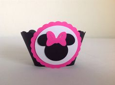 Minnie Mouse cupcake wrappers black hot pink and and by JazzyBug
