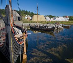 Viking boats at rest in the harbour
