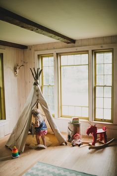 Kid's DIY teepee playroom inspiration by MerryThought Diy Teepee, Teepee Play Tent, Teepees, Deco Kids, Diy Playhouse, Turbulence Deco, Tent Decorations, Party Activities, Kid Spaces