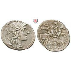 Römische Republik, C. Junius, Denar 149 v.Chr., ss+: C. Junius 149 v.Chr. Denar 149 v.Chr. Rom. Behelmter Kopf der Roma r., dahinter… #coins